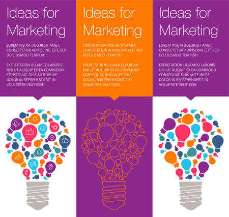 hint: Vector banner with light bulb of idea. Vertical banner for education online courses. Colorful banner with ballon talk for marketing of idea. Tip and hint for brain. Banner for Hackathon event. Illustration