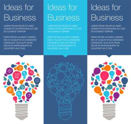 Vector banner with light bulb of idea. Vertical banner for education online courses. Colorful banner with ballon talk for business of idea. Tip and hint for brain. Banner for Hackathon event.