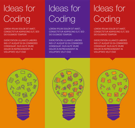 hint: Vector banner with light bulb of idea. Vertical banner for education online courses. Colorful banner with ballon talk for coding of idea. Tip and hint for brain. Banner for Hackathon event. Illustration