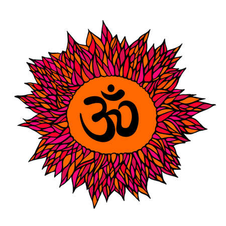 aum: om symbol, aum sign, with decorative indian ornament mandala, isolated. vector illustration