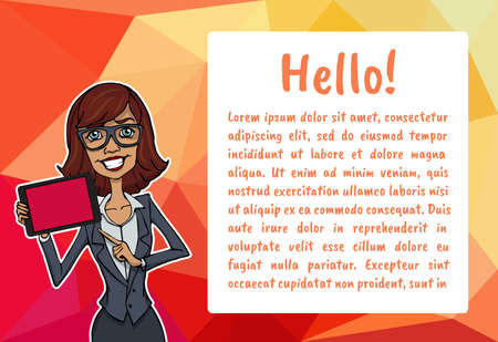 says: Banner with business people. Vector character with bubble talk and mobile. Vector quote for colorful web banners, web sites, printed materials, infographics, startup, marketing. Girl says - hello Illustration
