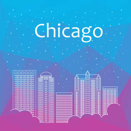 afternoon: Vector template banner for website header, advertisement. Vector flat city for banner, illustration, background, game. Flat city for presentations, poster. Colorful Chicago