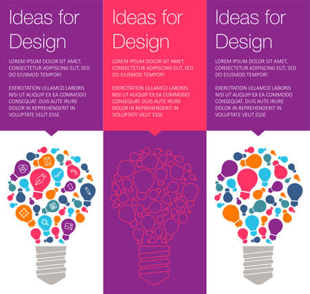 hint: Vector banner with light bulb of idea. Vertical banner for education online courses. Colorful banner with ballon talk for ux design of idea. Tip and hint for brain. Banner for Hackathon event. Illustration