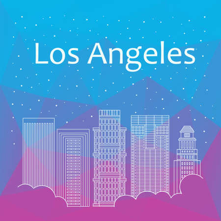 night life: Los Angeles for banner, poster, illustration, background. Vector background Los Angeles - snow is falling. Night life of Los Angeles. Hackathon, workshop, training in Boston. Holiday in Los Angeles Illustration