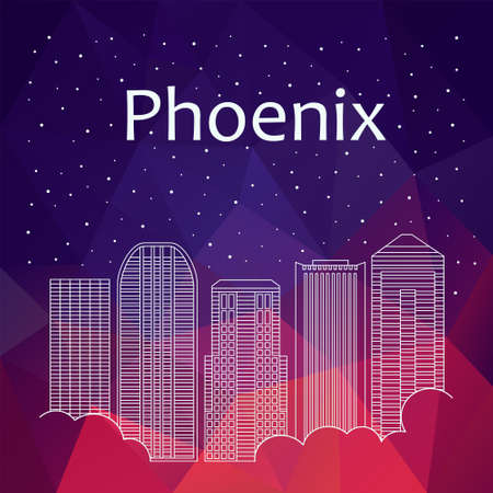 night life: Phoenix for banner, poster, illustration, game, background. Vector background Phoenix - snow is falling. Night life of Phoenix. Hackathon, workshop, training in Phoenix. Holiday in Phoenix