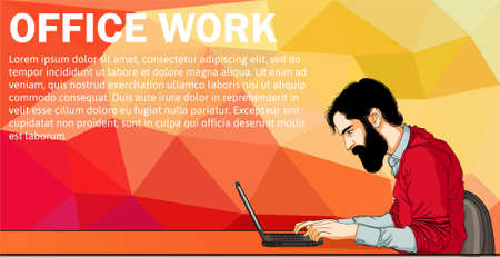 Vector banner of cartoon man on laptop. Business man surfing internet. Business man with laptop in office - vector banner. Cartoon businessman on desk. Vector banner with laptop and man