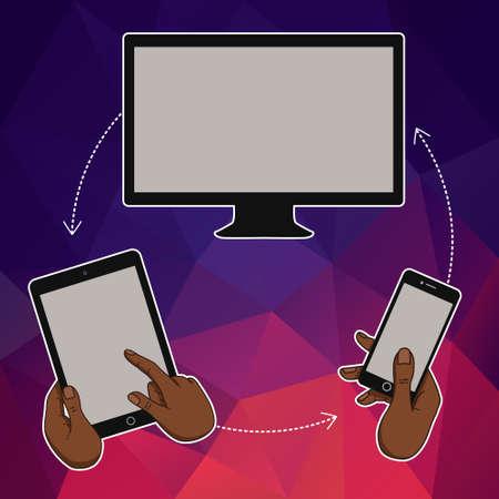 Flat design concept for website template - mobile app, smartphone, social media, business. Web banners or headers vector illustration. Web banner with laptop, tablet, mobile