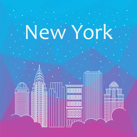 night life: New York for banner, poster, illustration, game, background. Vector background New York - snow is falling. Night life of New York. Hackathon, workshop, training in New York. Holiday in New York Illustration