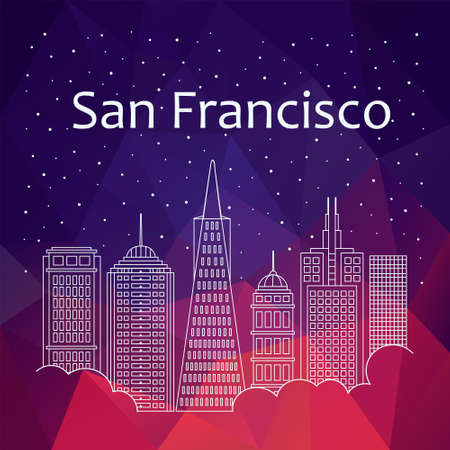 night life: San Francisco for banner, poster, illustration, game, background. Vector San Francisco - snow is falling. Night life of San Francisco. Hackathon, workshop, training in San Francisco. Holiday in San Francisco