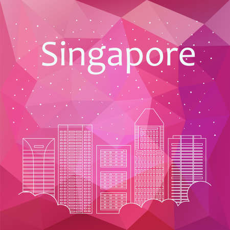night life: Singapore for banner, poster, illustration, game, background. Vector background Singapore - snow is falling. Night life of Singapore. Hackathon, workshop, training in Singapore. Holiday in Singapore Illustration