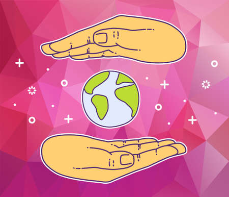 hand holding globe: Banner with hand holding globe. Icon of social network Illustration