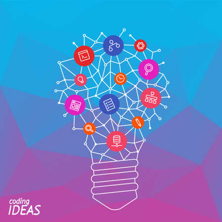 think through: Light bulb idea for infographic banner. Line icon of idea of brain. Illustration