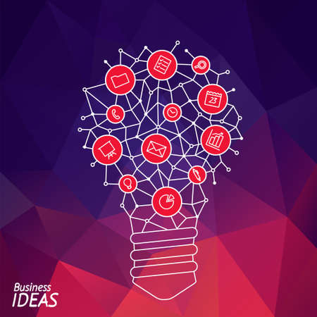 hint: Design of banner with idea light bulb. Presentation of tip and hint of idea brain. Illustration