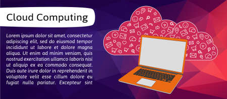 cloud service: Vector banner with line icons of cloud service. Purple abstract background for banner or header.