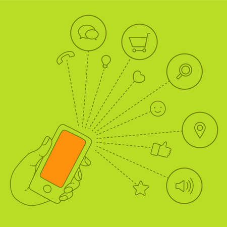 Hand keeps mobile and set icons