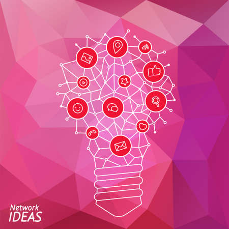 techology: Ideas for techology. Tools and services for network. Light bulb with icons in flat style for tools, programs, slides. Vector illustration concept of UX thought and enlightenment.