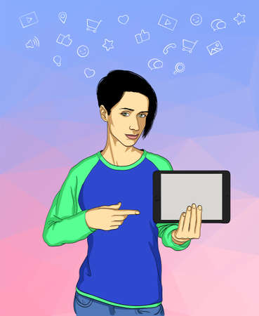 wireless connection: Young woman holding a tablet and communicating people all over the world. Social network and social media concept.