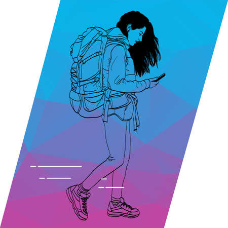The outline of a girl running and looking to your mobile phone. Illustration for mobile app about travel.