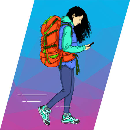 Young woman is walking with a mobile phone. A beautiful girl with her hair in loose clothes and in casual clothes, with a large backpack 矢量图像