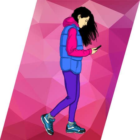 Woman walking and text on mobile phone.