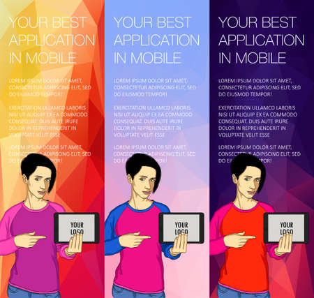 Set of colorful banners with the girl and the tablet Illustration
