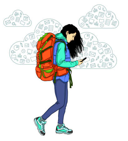 Girl with mobile phone on white background. Vector illustration of cloud technologies and services in a smartphone
