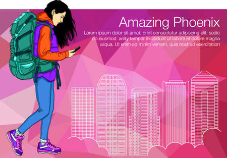 Walking Girl in Phoenix City and Holding Smartphone. Girl tourist looking in the phone Illustration