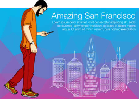 old telephone: Man walking with smartphone. Vector illustration buildings of San Francisco for web banner.