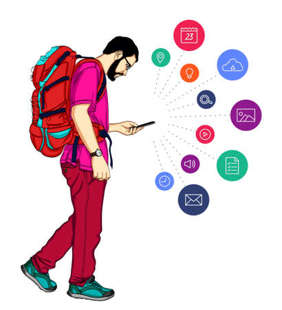 Notification in mobile smartphone. Cartoon man with smartphone notification. Vector guy with mobile cell phone