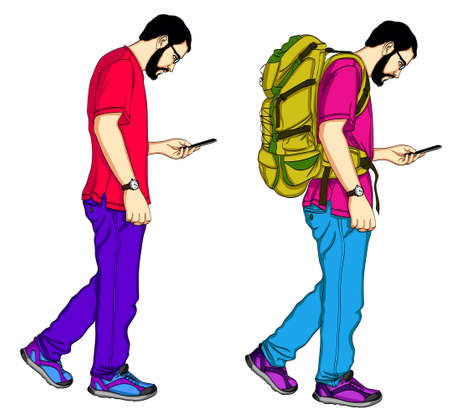 Set of young male travelers with backpacks. Cartoon illustration isolated on white background. Guy traveling with backpacks and mobile