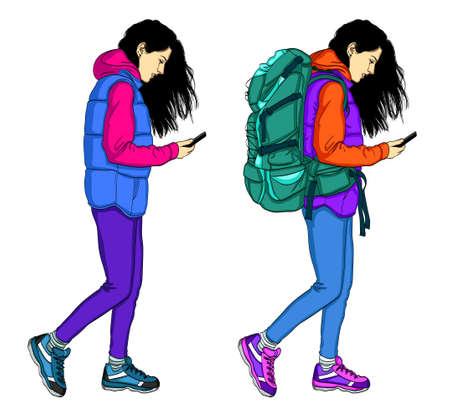 Traveler woman using mobile phone. Vector flat design illustration isolated on white background.