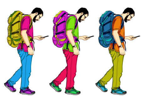 Young Men Walking and Texting. A handsome guy with a backpack and a mobile phone. 矢量图像