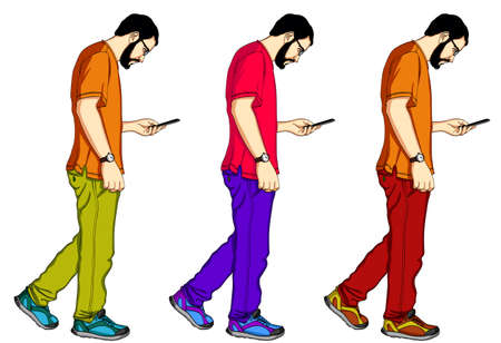 A set of vector figures of a man walking and looking in a mobile phone. Handsome guy in a T-shirt and jeans with smarthrone in his hands
