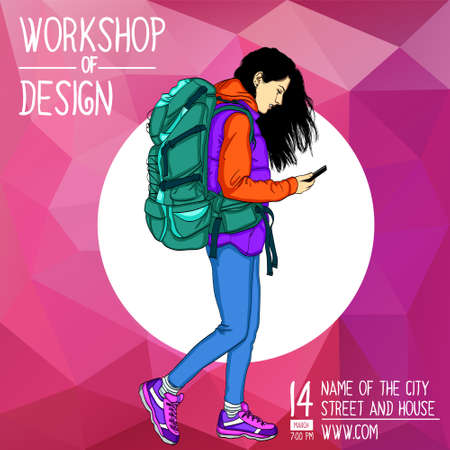 A square banner with a girl in the center. Vector banner for the workshop on mobile technologies, tourism, social networks.