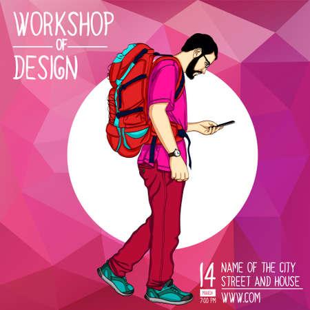 Web vector illustration on the theme of mobile technology and service, GPS, navigation, walking. Wanderlust. Downshifting. Modern flat design