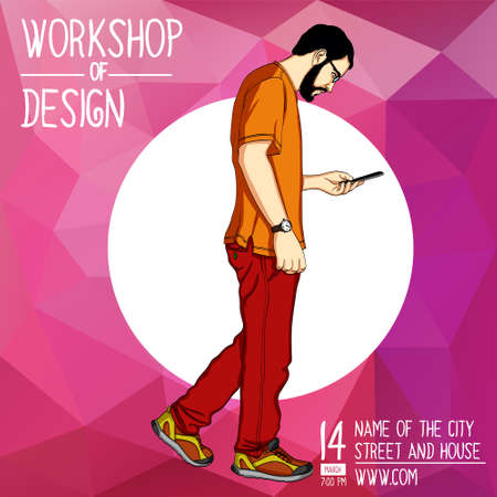 Vector template for a mobile workshop, web banner, presentation. Handsome young man steps and looks into smartphone Illustration