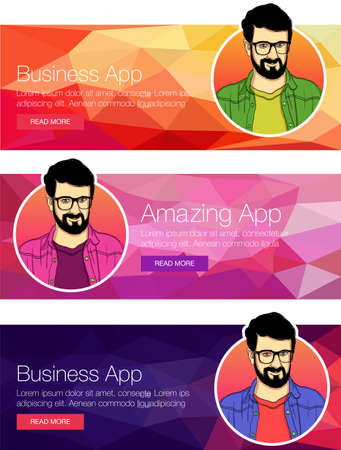 Flat design concept for social media, mobile payments and e-commerce. Vector illustration for web banners and promotional materials. Banner with the face of a man