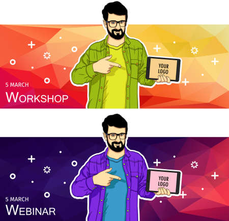 Guy showing tablet screen app on colorful background. Man presentation of mobile application, startup, website. Vector illustration cloud service, social network and technology