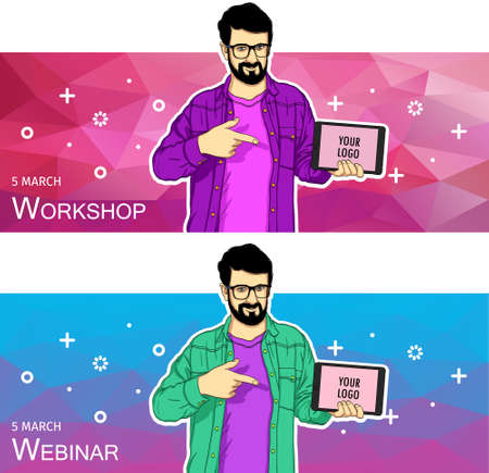 Mobile tablet template for banner. Vector template of mobile tablet screen in hand. 矢量图像