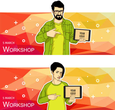 Mobile tablet template for banner. Vector template of mobile tablet screen in hand. Illustration