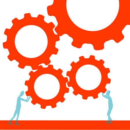 Vector illustration of teamwork. Gears for technical support
