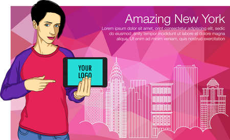 Elegant People Series. Beautiful business woman with Tablet PC. Vector illustartion of buildings of New York 矢量图像