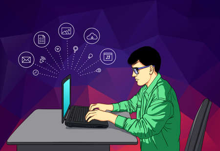 Vector illustration of guy in flat line style. Working man with laptop. Graphic design concept of social networking in Web Project and Applications Outline isolated object. 矢量图像