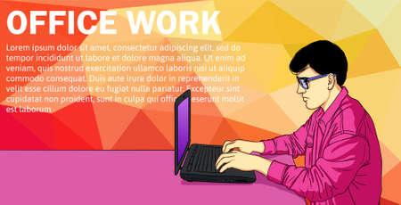 Business Man Working Day Concept Using Laptop Sitting Desk Banner Vector Illustration