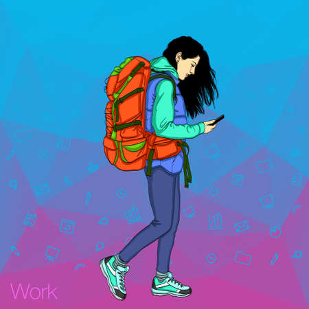 Colorful vector backgrounds for web banners. Girl holding a mobile phone. Social networks in the smartphone Illustration