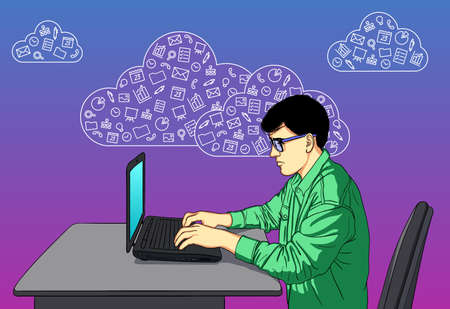 Designer on Hackathon with icons of cloud service and social media.