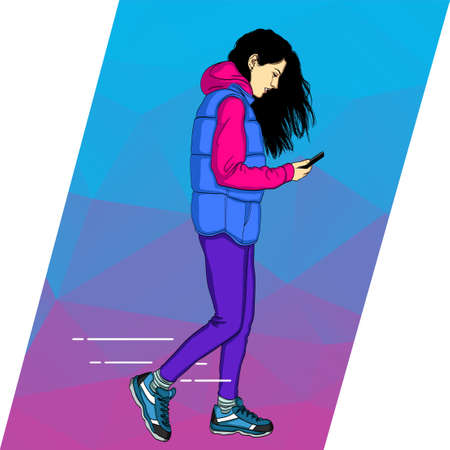 Mobile dependence. Girl with their gadgets. Vector illustration in a flat style with icons of app