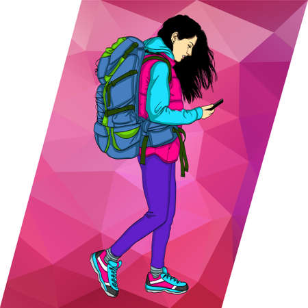 Colorful banner with a beautiful girl looking in the phone. Social networks in the smartphone for travelers. Girl with a tourist backpack