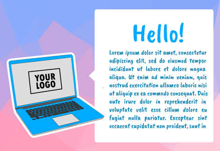 Infographic template with laptop computer. Vector illustration