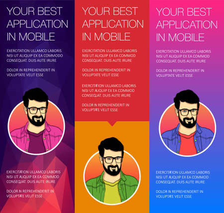 Set of vertical banners with face of guy. Vector header banners with bubble talk. Vector banner of headers template. Illustration